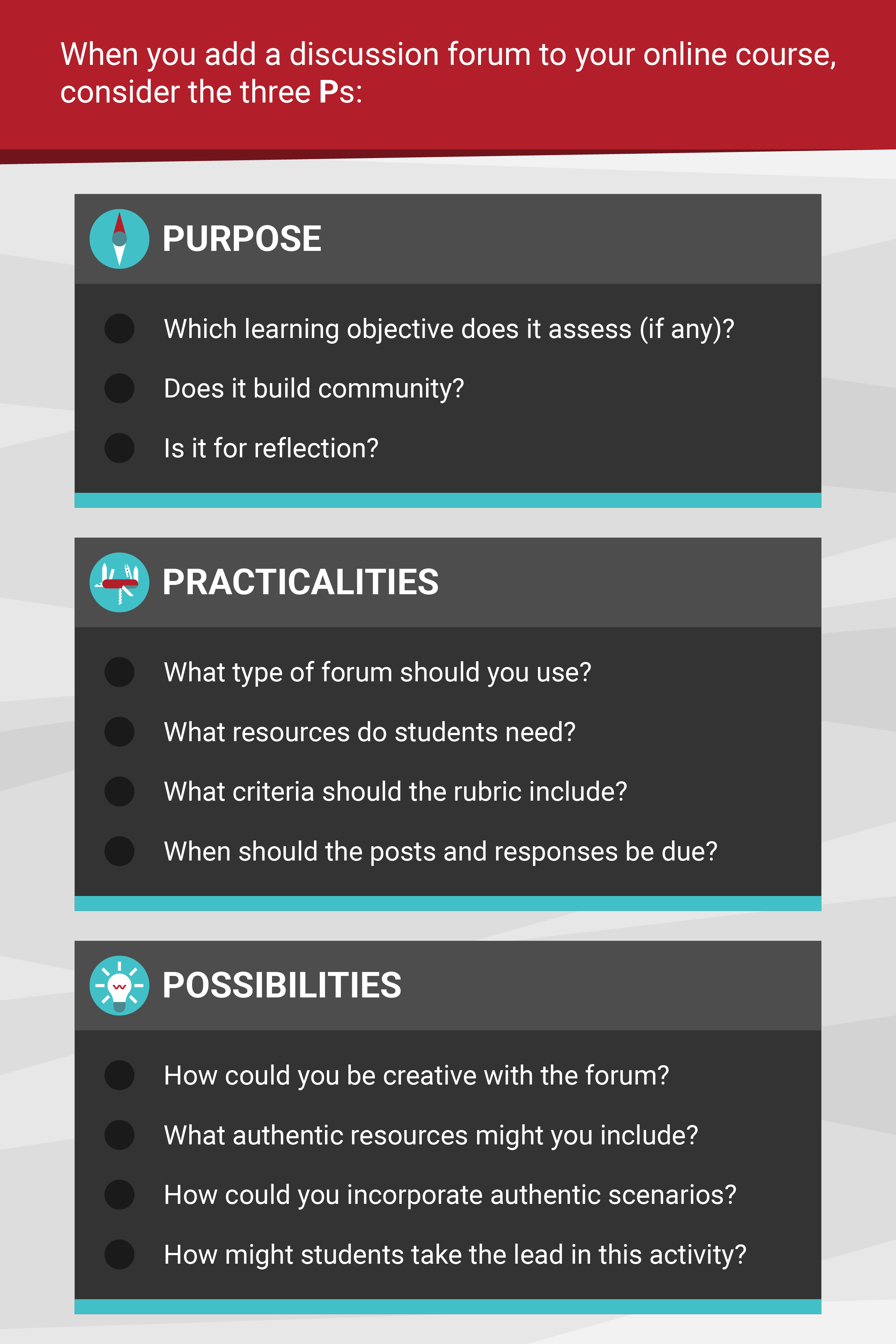 When you add a discussion forum to your online course, consider its purpose, practicalities, and possibilities. Purpose: Which learning objective does it access (if any)? Does it build community? It is for reflection? Practicalities: What type of forum should you use? What resources do students need? What criteria should the rubric include? When should the posts and responses be due? Possibilities: How could you be creative with the forum? What authentic resources might you include? How could you incorporate authentic scenarios? How might students take the lead in this activity?