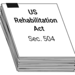 "A stack of papers, the top labeled ""US Rehabilitation Act, Section 504."""